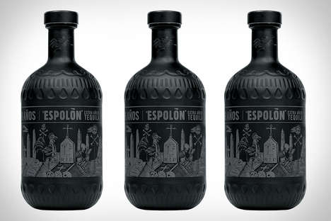 Stark Tequila Branding - This Aged Tequila is Featured in Matte Black Glass Bottles
