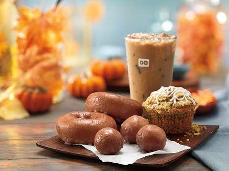 Pumpkin-Centric Donut Menus - Dunkin' Donuts' Fall 2016 Menu is Bursting with Pumpkin Flavors