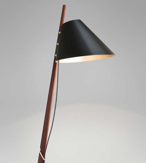Slender Standing Lamps - The Billy BL Lamp Makes Use Of Brass and Rosewood Materials