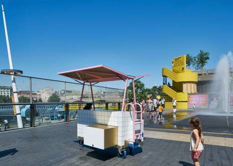 Tiled Pop-Up Kiosks - This Mobile Shop's Design is Inspired By Public Swimming Pools