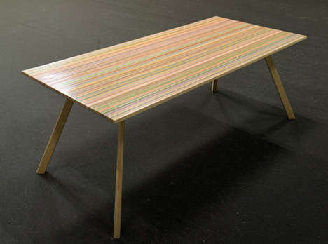 Recycled Skateboard Tables - The 'DecksTop Timber' Table is Made from Broken Skateboard Decks
