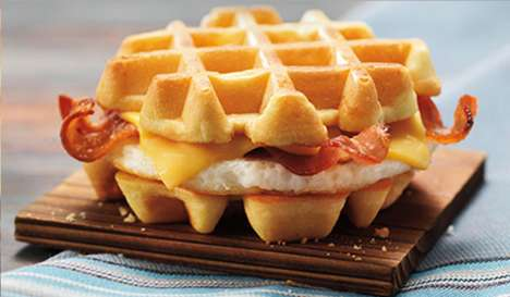 Waffle-Topped Breakfast Sandwiches - This Savory Breakfast Sandwich is Made with Two Belgian Waffles
