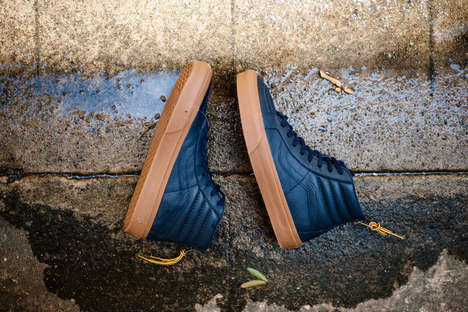 Rope-Accessorized Leather Sneakers - These High-Top Leather Vans Come with an Outdoorsy Touch