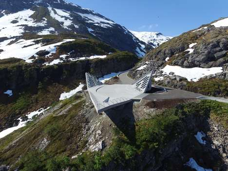 Jutting Triangular Viewpoints - The Utsitken Viewpoint in Norway Overlooks the Moutains
