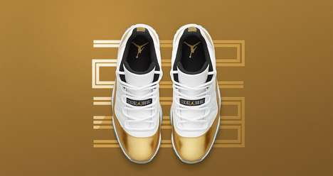 Gold-Dipped Sneaker Concepts - Air Jordan's Golden Shoes Celebrate the Olympic Games