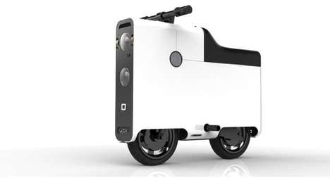 Suitcase-Shaped Scooters - This Electric Scooter Design Features Box-Like Shapes and Electric Power