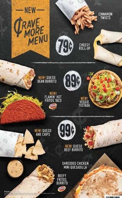 Ultra-Affordable Fast Food Menus - Taco Bell's New Crave More Menu Features Items Under a Dollar