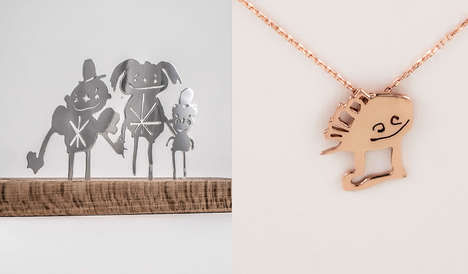 Child Artwork Jewelry - Turkish Jeweler Tasarim Takarim Creates Bespoke Jewelry From Kid Drawings