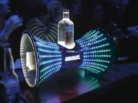 Vodka-Holding Displays - These Absolut Vodka Buckets Offer a Vibrant Bar Display