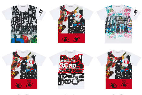 Collage Art Clothing - COMME des GARCONS' T-Shirts Feature Bright Jumbled Prints and Its Love Logo