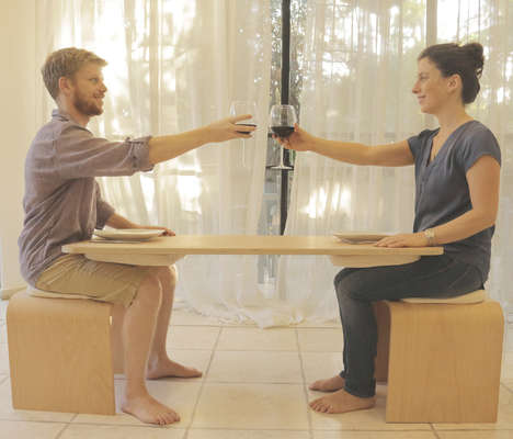 Cooperative Dining Tables - 'Sati Tala' is a Dining Table for Two with a Balancing Tabletop