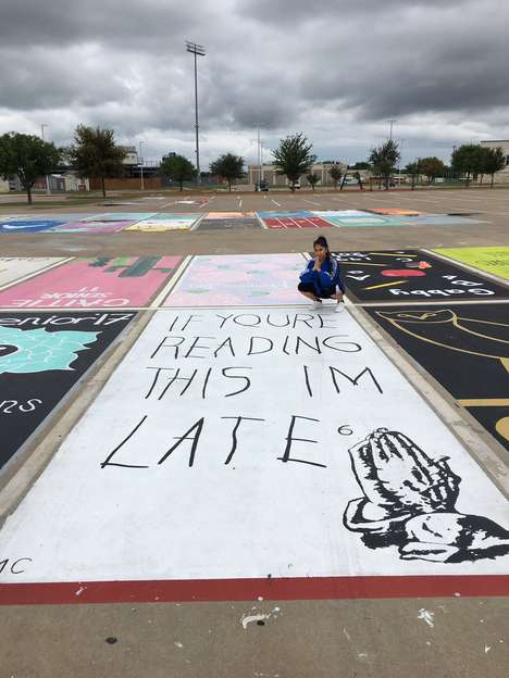 Painted Parking Spaces - Seniors at West Orange High School Get to Paint Their Parking Spaces
