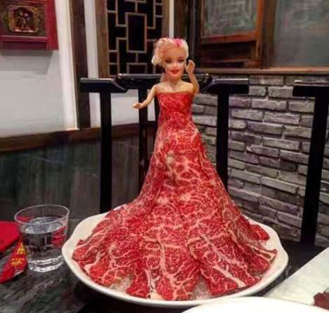 Edible Meat Dress Replicas - A Hot Pot Eatery is Offering Salami Versions of Lady Gaga's Raw Robe