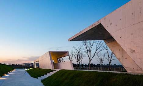 Zigzagged Concrete Parks - The Jinshan Modern Agricultural Park is Built to Look Like a Large Porch