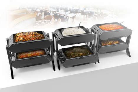 Double Decker Food Trays - The Double Buffet Maximizes on Space By Serving Two Dishes at Once