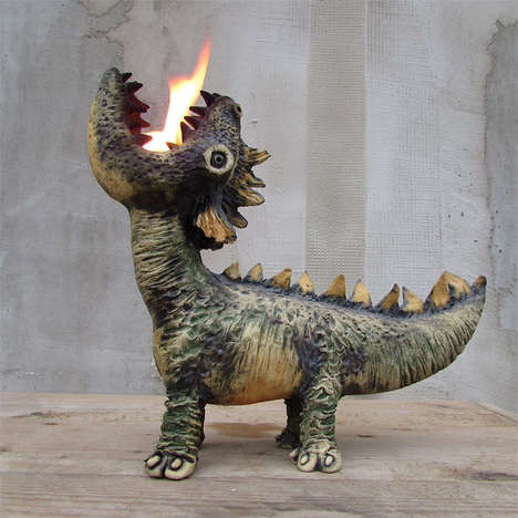 Dragon-Shaped Oil Lamps - This Endearing Oil Lamp Has an Adjustable Flame