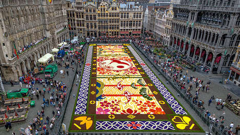 Alliance-Representing Floral Mosaics - This Large Art Piece Sits in the Grand Place in Brussels