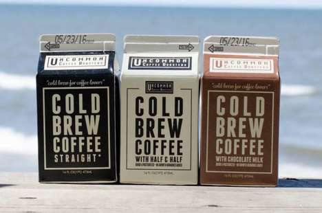 Cartoned Cold Brews - The Uncommon Coffee Roasters Premixed Coffee is Served in Retro Milk Cartons