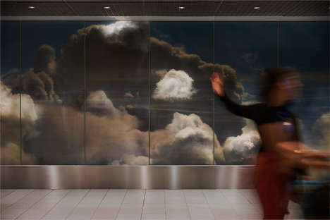 Cloudy Airport Installations - This Installation Features a Wall Sheathed In a Cloudy Sky Pattern