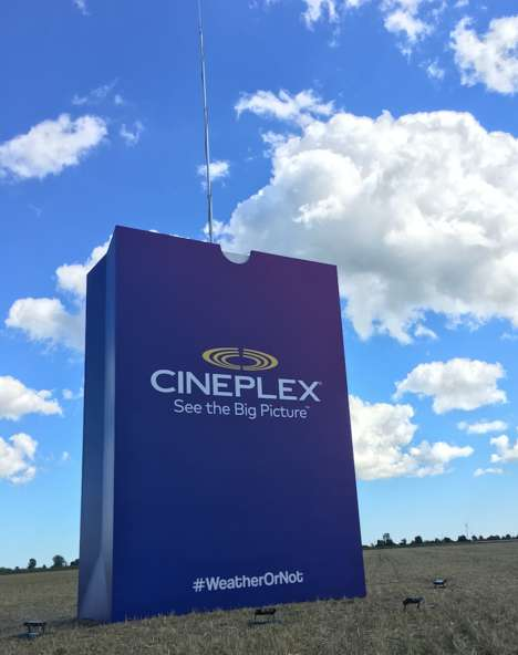 "Oversized Popcorn Sculptures - Cineplex Entertainment Stationed a Big Bag in ""Lightning Alley"""