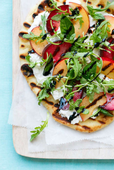 Plum Pizza Flatbreads - This Arugula and Burrata Flatbread Recipe Features Colorful Plum Slices