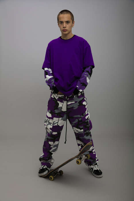 Violet Camouflage Apparel - YOUTH OF PARIS' Lookbook Showcases Purple Skater Ensembles and More