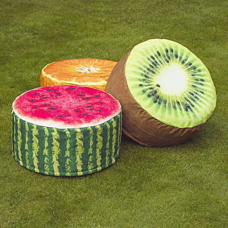 Inflatable Fruit Pouffes - These Realistic Food Cushioned Footstools Are Designed for the Garden