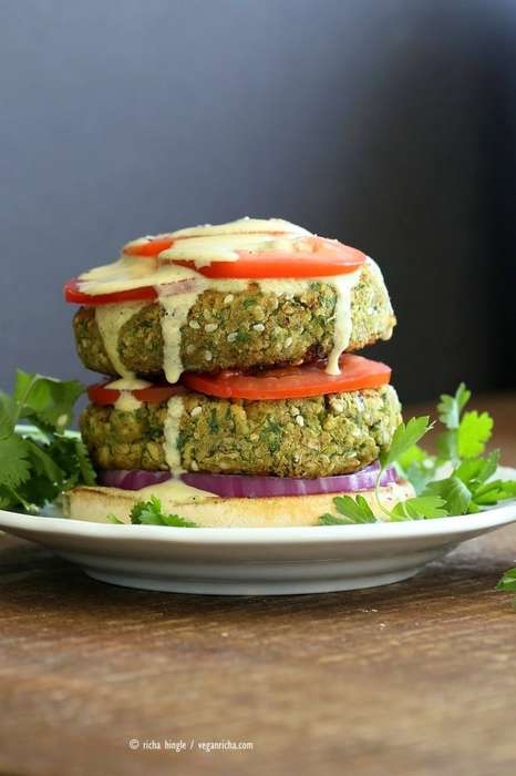 Vegan Chickpea Burgers - This Healthy Fast Food Sandwich Features a Middle Eastern Falafel Patty