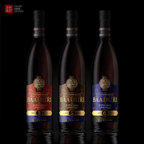 Gold-Emblazoned Brandies - This Brandy Packaging Offers a Sophisticated Design