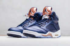 Bronze-Accented Basketball Shoes