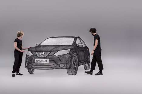 Doodled Car Sculptures - The Nissan Qashqai Black Edition Was Rendered Using 3Doodler Pens