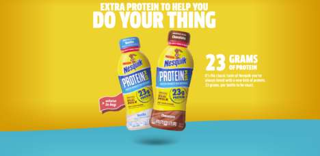 Protein-Rich Milk Products - The New Nesquik Protein Plus Beverages are Enhanced with Protein