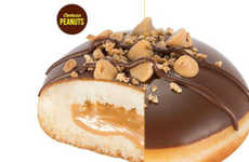 Candied Confectionery Donuts - The Reese's Peanut Krispy Kreme Donuts Recreate the Chocolate Bar