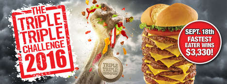 Oversized Burger-Eating Challenges - The Triple Triple Challenge Caters to Those with Big Appetites