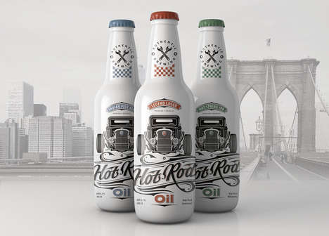 Car Culture Beer Branding - Hot Rod Oil Beer Correlates Craft Beer to Muscle Cars