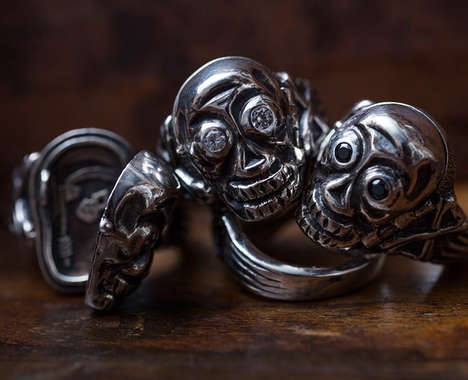 Diamond-Accented Skull Rings