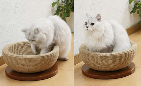 Contemporary Cat Accessories - The Bonbi Arkon Cat Scratching Bowl Offers a Spot to Unwind