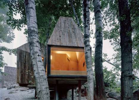 Prefabricated Hut Designs - These Treehouses Were Created With Recycled Timber