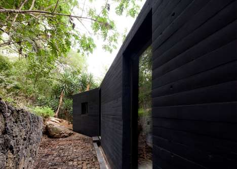 Blackened Holiday Homes - This Holiday Home In Mexico Features Striking Color Contrasts