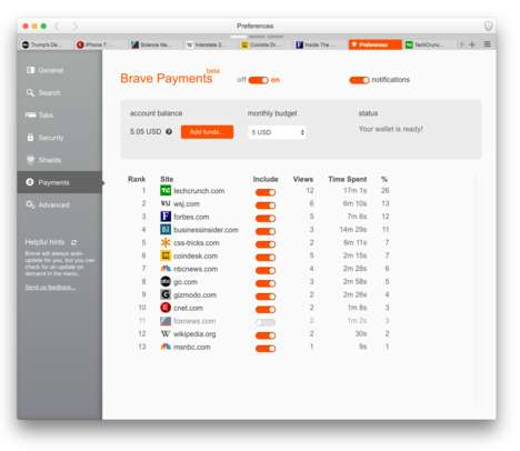 Cryptocurrency-Tipping Browsers - The Brave App Lets You Tip Websites Using Bitcoins