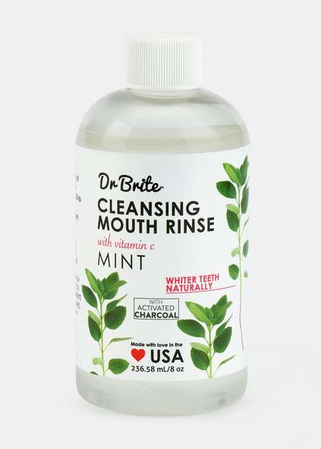 Activated Charcoal Mouthwashes - Dr. Brite's Activated Charcoal + Mint Mouth Rinse is 100% Organic