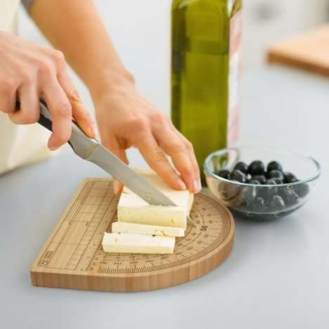 Chopping Protractor Boards - The 'Cheese Degrees' Cutting Block Features Angles For Precise Slicing