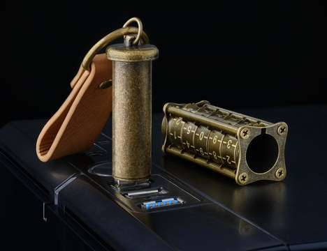 Coded Steampunk USBs - The Cryptex Antique Gold Flash Drives Includes an Exterior Lock System