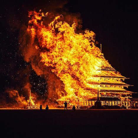 Blazing Shrine Sculptures - 'The Temple' Installation by David Best Shows a Scared Space Set on Fire