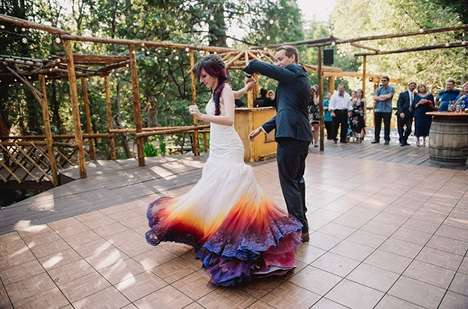 Dip Dye Brial Dresses - This Wedding Gown Creatively Adds Gradient Color to the Base