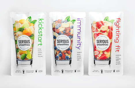 Frozen Fruit Smoothie Kits - The 'SER!OUS' Smoothies Packaging is Focused on Convenience