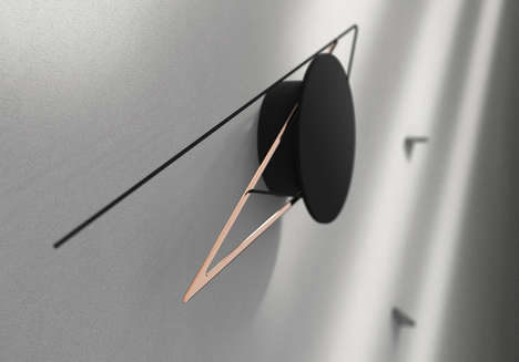 Faceless Clock Collections - These Unique Clocks' Triangular Hands Change Shape Over Time