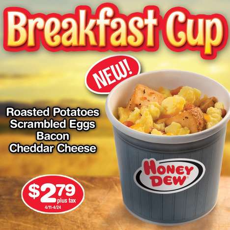 Portable Breakfast Bowls - The Breakfast Cup from Honey Dew Donuts Makes It Easier to Eat on the Go