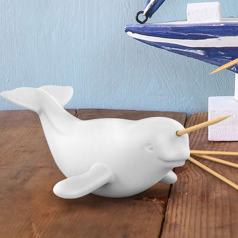 Aquatic Toothpick Dispensers - This Animal Toothpick Holder is Designed To Look Like a Narwhal