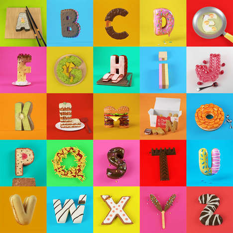 Realistic 3D Food Letters - 'Cess' Designed a Typography Series That Surrounds Appetizing Dishes